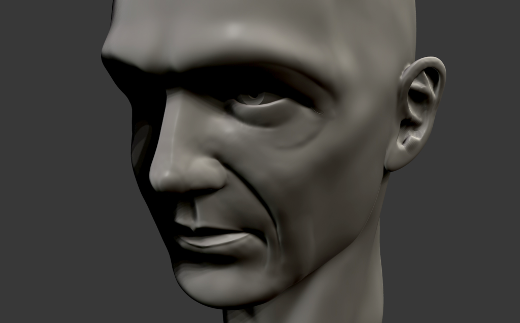 Game character head sculpt created in Zbrush.
