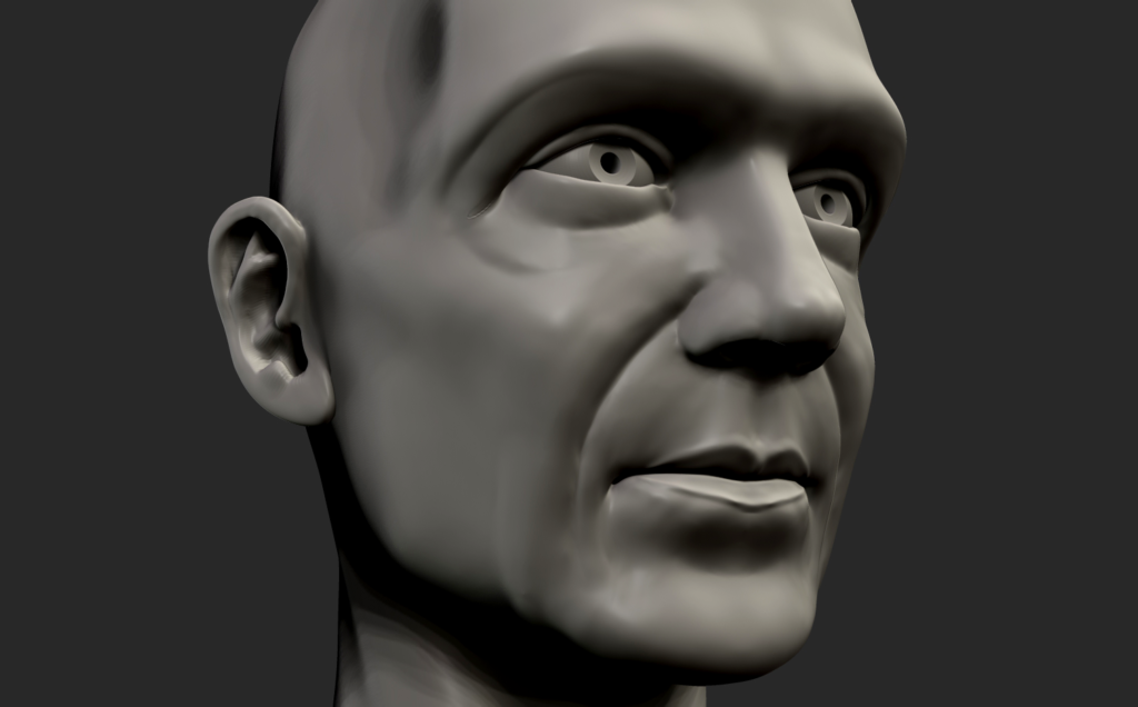 Game character head sculpt.